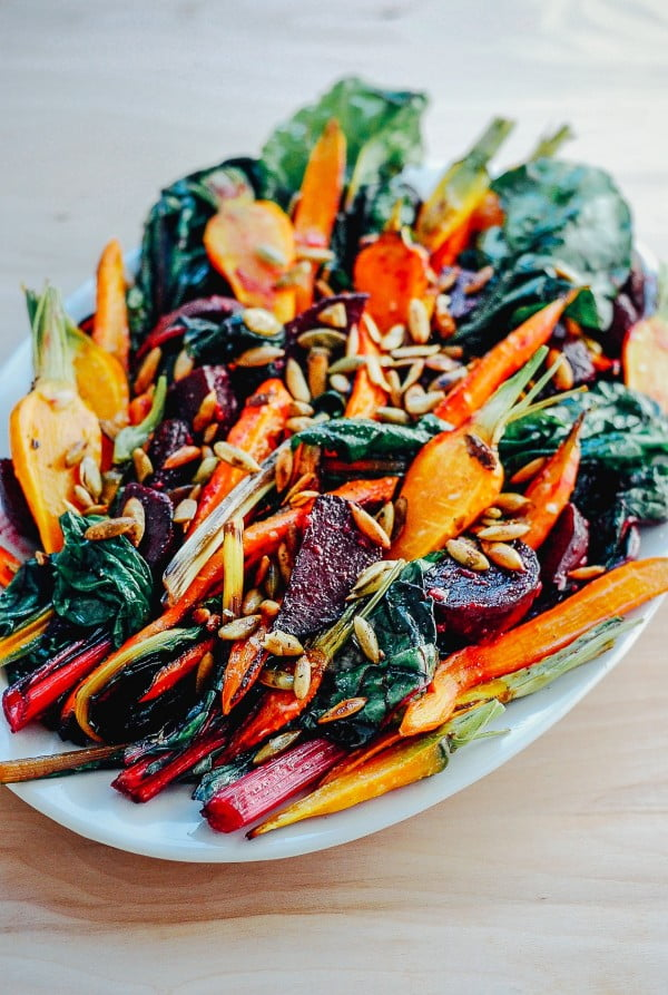 Roasted Vegetable Salad with Garlic Dressing #meatless #dinner #recipe