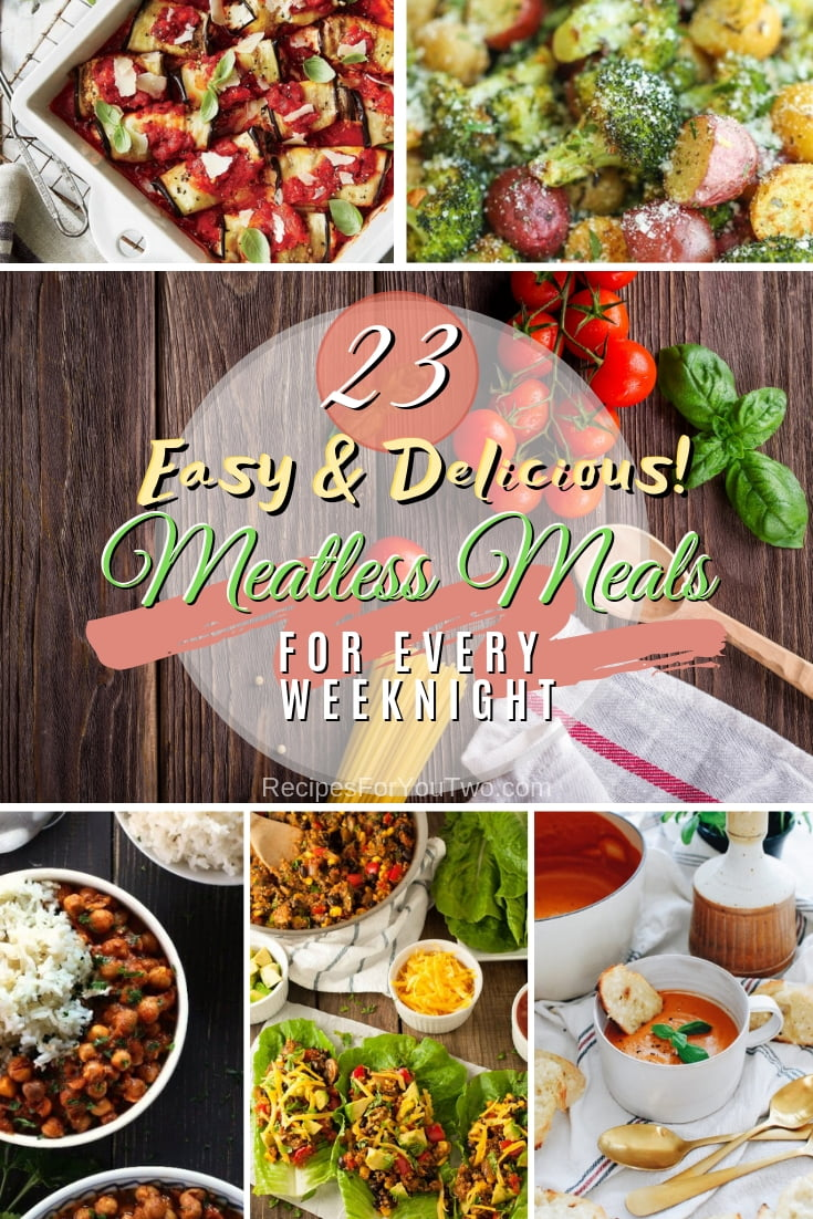 Delicious, easy, hearty, and meatless! These are 23 amazing meatless meal recipes for every weeknight. Great list! #recipe #meatless #dinner