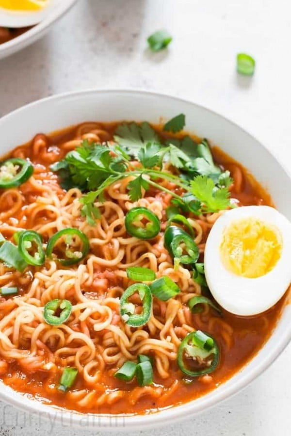 Sriracha Spicy Ramen Noodles Soup #noodles #soup #dinner #recipe
