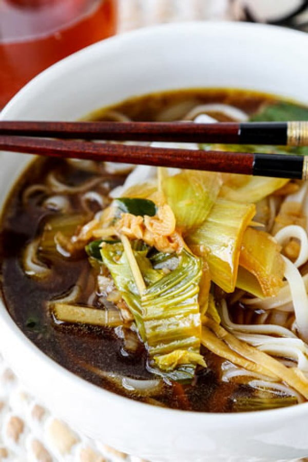 Baby Bok Choy Soup With Garlic and Ginger #noodles #soup #dinner #recipe