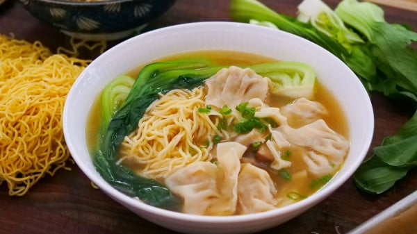 Wonton Noodle Soup Recipe & Video #noodles #soup #dinner #recipe