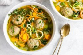 30 Minute Chicken Meatball Noodle Soup (gluten free and paleo) #noodles #soup #dinner #recipe