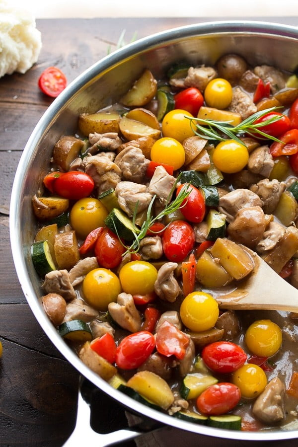 Easy Balsamic Chicken Skillet with Tomatoes and Tarragon #onepan #recipe #dinner