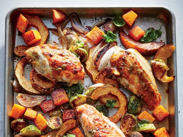 Mustard Roasted Chicken with Squash and Brussels Sprouts #onepan #recipe #dinner