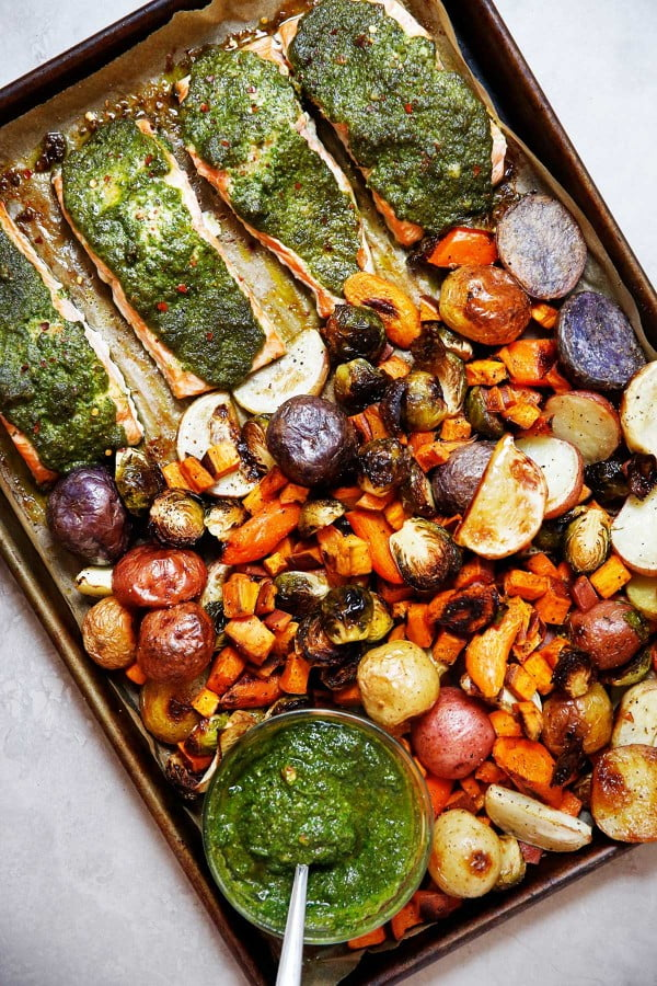 Sheet Pan Root Vegetable and Sage Pesto Salmon #onepan #recipe #dinner