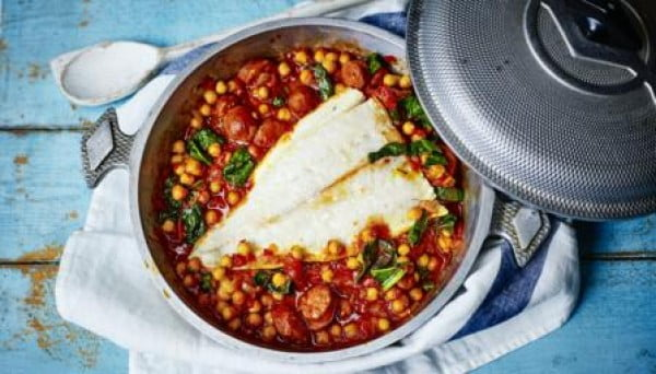 Pollack, chorizo and chickpea stew #onepot #dinner #recipe