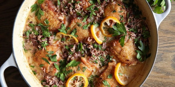 Creamy Lemon Chicken with Wild Rice #onepot #dinner #recipe