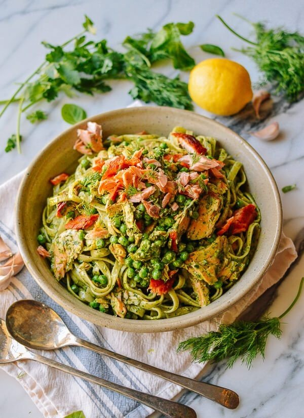 Salmon Pasta with Green Goddess Pesto #onepot #dinner #recipe