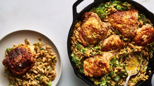 Skillet Chicken with Buttery Orzo Recipe #onepot #dinner #recipe
