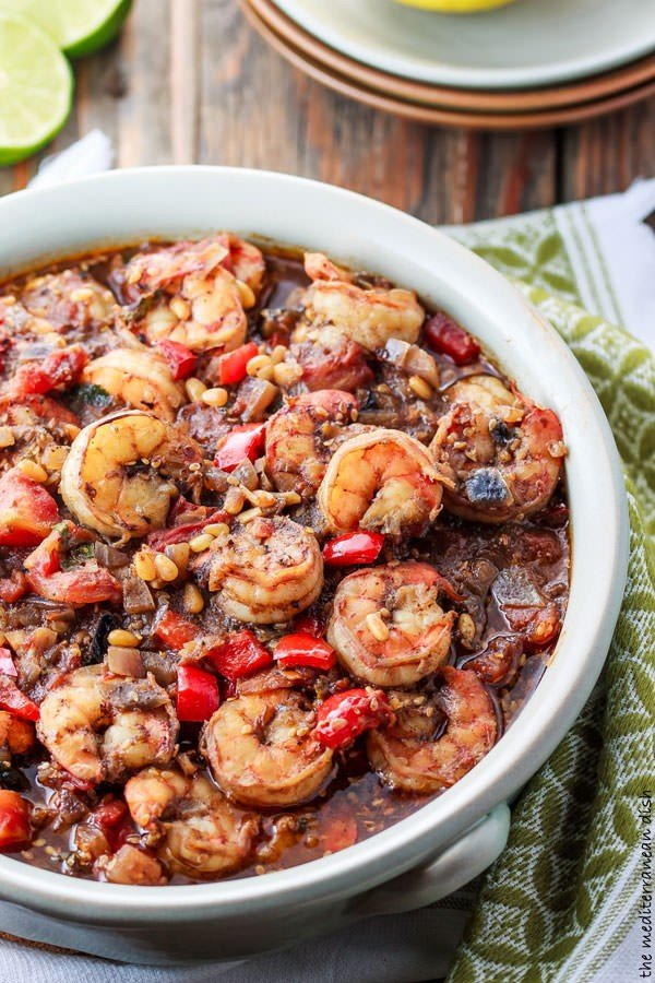 Baked Shrimp Stew with a Mediterranean Chunky Tomato Sauce #onepot #dinner #recipe