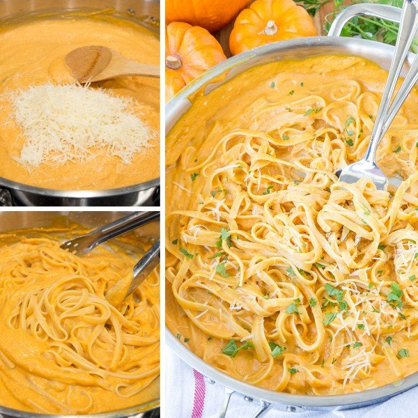 Creamy Pumpkin Alfredo #pasta #dinner #recipe