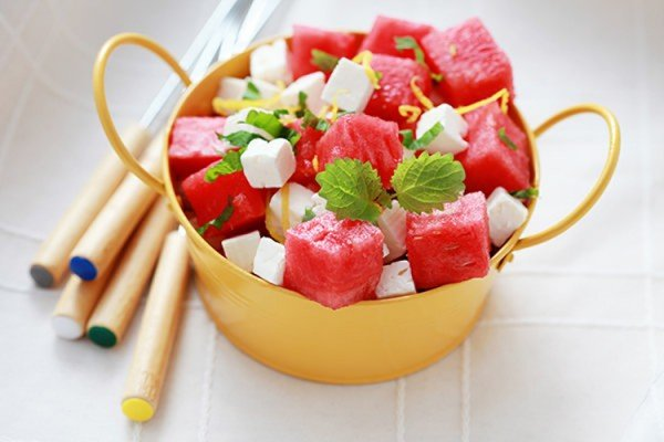 Herby, Juicy Watermelon, Tomato and Feta Salad #picnic #recipe #lunch