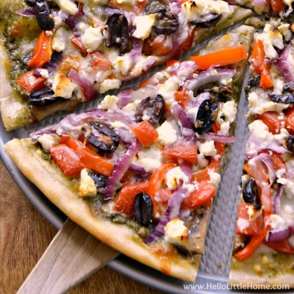 Pesto, Feta, and Veggie Pizza #pizza #dinner #recipe
