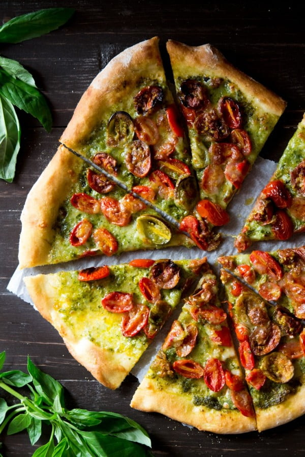 Basil Pesto Pizza with Mozzarella & Roasted Tomatoes #pizza #dinner #recipe