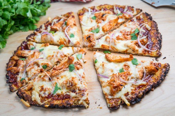 Cauliflower Pizza Crust (with BBQ Chicken Pizza) Recipe #pizza #dinner #recipe