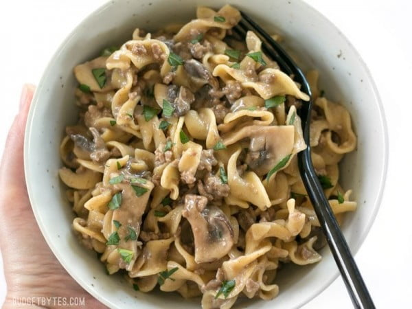 One Pot Beef and Mushroom Stroganoff - with VIDEO - Budget Bytes #dinner #recipe #smalldinner