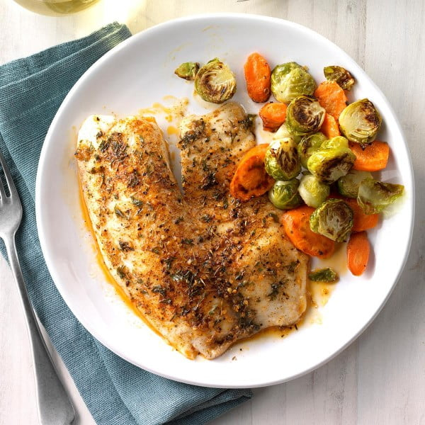 Seasoned Tilapia Fillets Recipe | Taste of Home #dinner #recipe #smalldinner