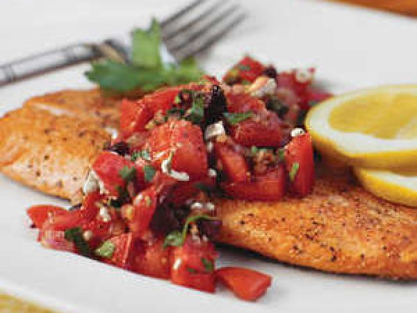 Pan-Seared Trout With Italian-Style Salsa #dinner #recipe #smalldinner