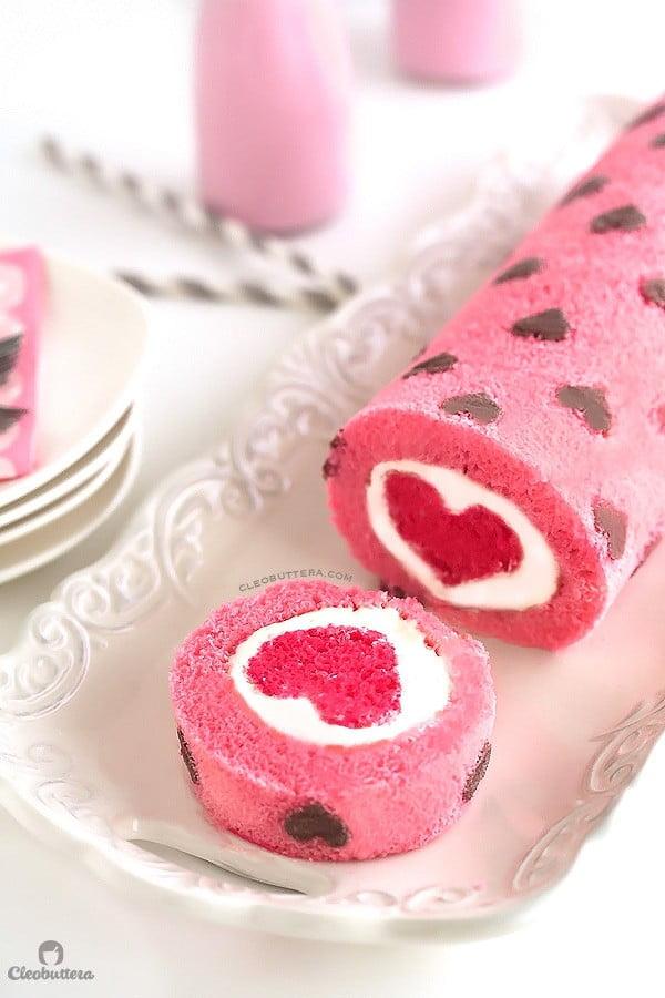 """Love is All Around"" Cake Roll #romantic #recipe #dessert"