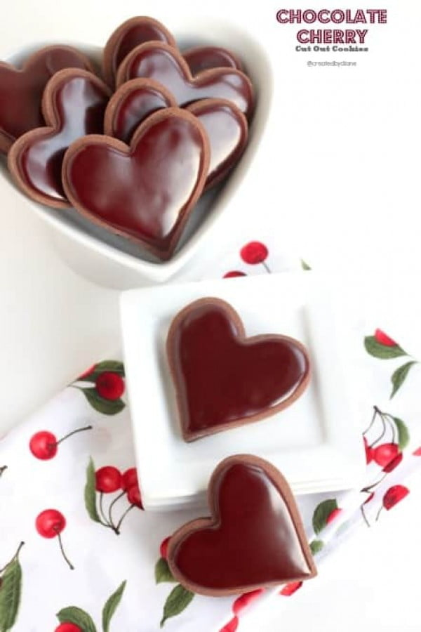 Chocolate Cherry Cut Out Cookies #romantic #recipe #dessert