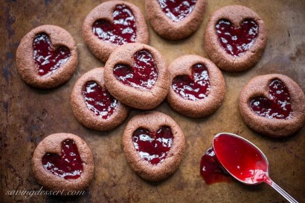 Chocolate Raspberry Thumbprint Cookies #romantic #recipe #dessert