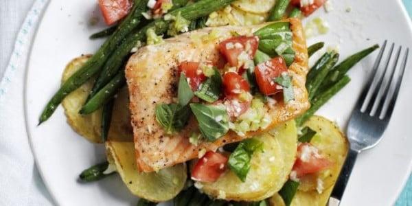 Roasted Salmon, Potatoes & Green Beans #steak #recipe #dinner
