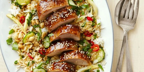 Hoisin-Glazed Pork Tenderloin with Asian Rice Salad #steak #recipe #dinner
