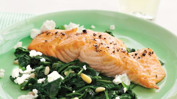 Broiled Salmon with Spinach-and-Feta Saute #seafood #dinner #recipe