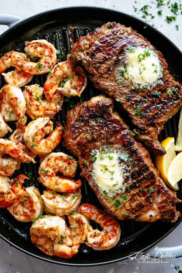 Garlic Butter Grilled Steak & Shrimp #steak #recipe #dinner