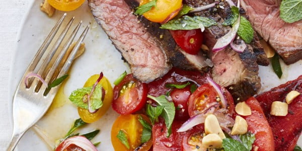 Grilled Watermelon Salad with Steak and Tomatoes #steak #recipe #dinner