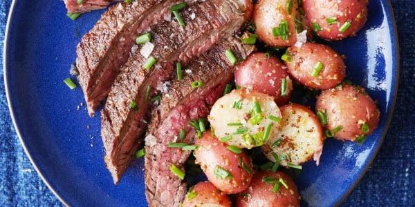 Grilled Flank Steak with Mustardy Potato Salad #steak #recipe #dinner