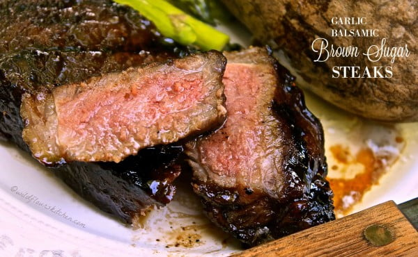 Garlic Balsamic Brown Sugar Steaks #steak #marinade #bbq #grill #dinner