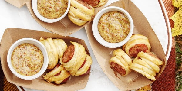 Cajun Sausage Puffs With Bourbon Mustard #superbowlparty #snacks #recipe
