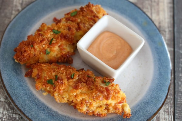 Elevate Everyday Chicken Fingers With a Bacon Cheddar Coating #superbowlparty #snacks #recipe