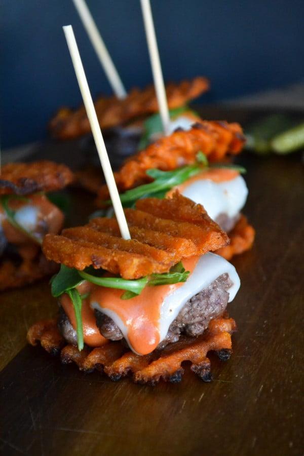Mini Wagyu Beef and Sweet Potato Waffle Fry Sliders #superbowlparty #snacks #recipe