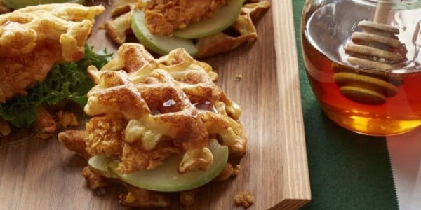 Chicken and Buttermilk Waffles #superbowlparty #snacks #recipe