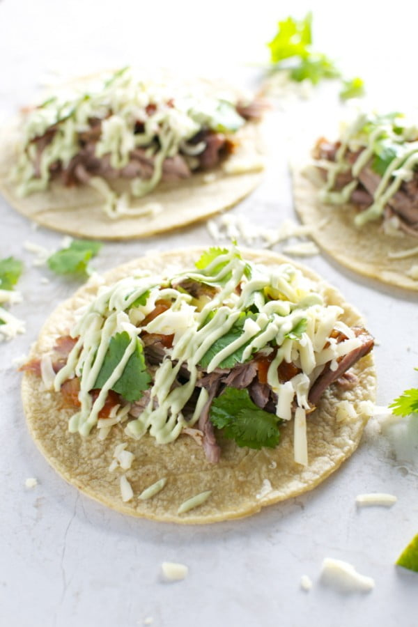 Slow Cooker Pork Tacos #tacotuesday #taco #recipe #dinner