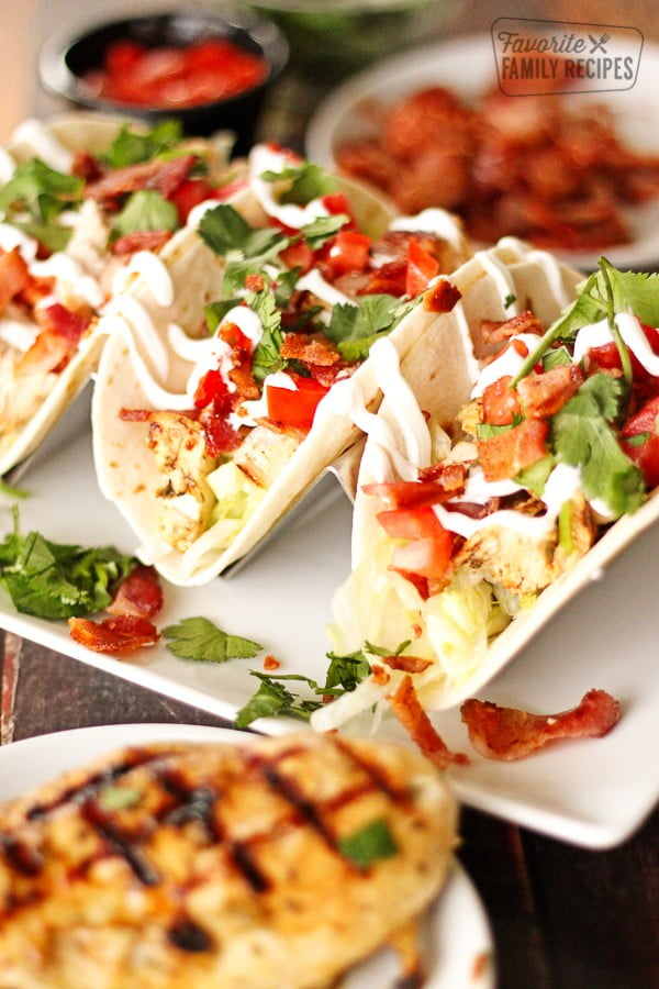 Grilled Chicken BLT Tacos #tacotuesday #taco #recipe #dinner