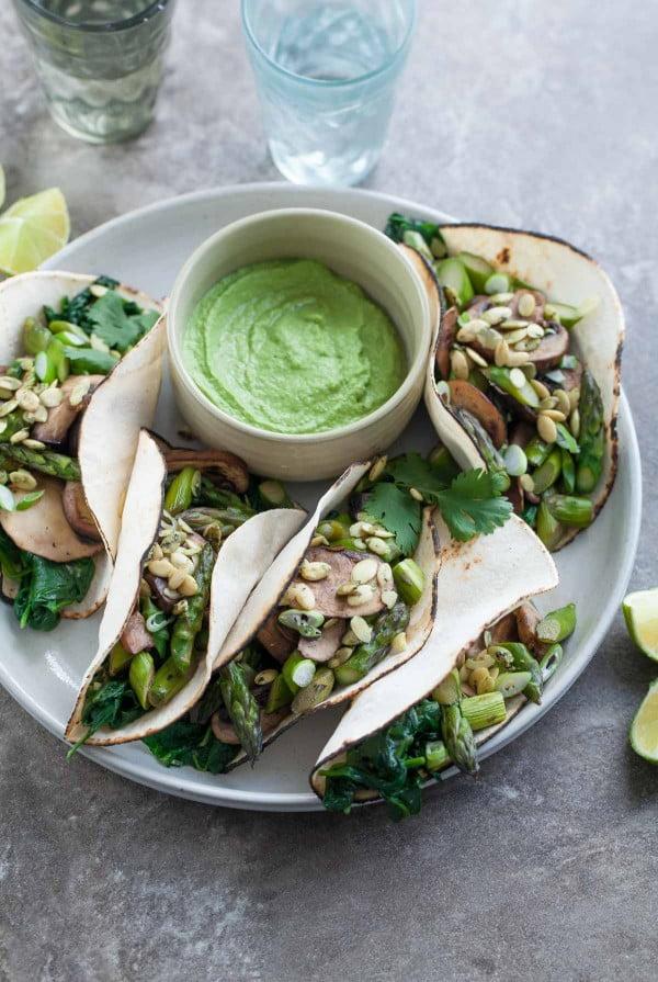 Mushroom Asparagus Tacos with Jalapeno Cashew Crema (Paleo, Vegan) #tacotuesday #taco #recipe #dinner