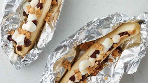 Grilled Chocolate Banana Foil Pack #toasteroven #recipe #dinner