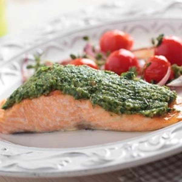 Toaster-Oven Pesto Salmon