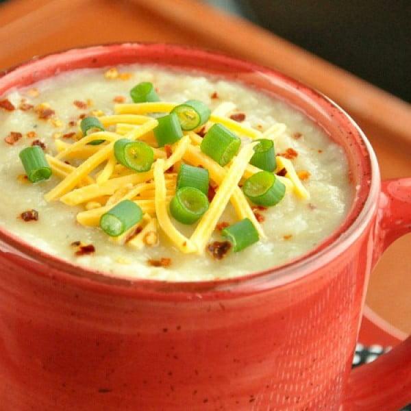 Pot Veggie Loaded Baked Potato Soup Recipe #vegetarian #crockpot #dinner #recipe