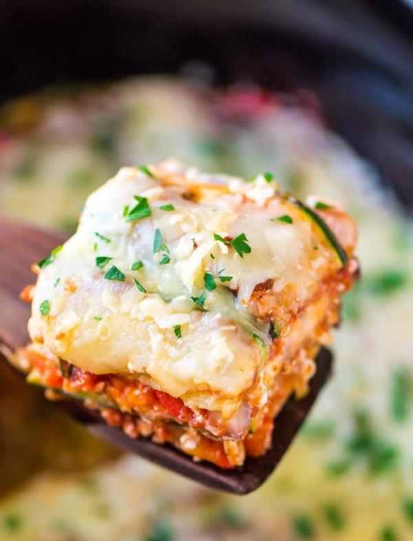 Crock Pot Low Carb Lasagna Recipe #vegetarian #crockpot #dinner #recipe