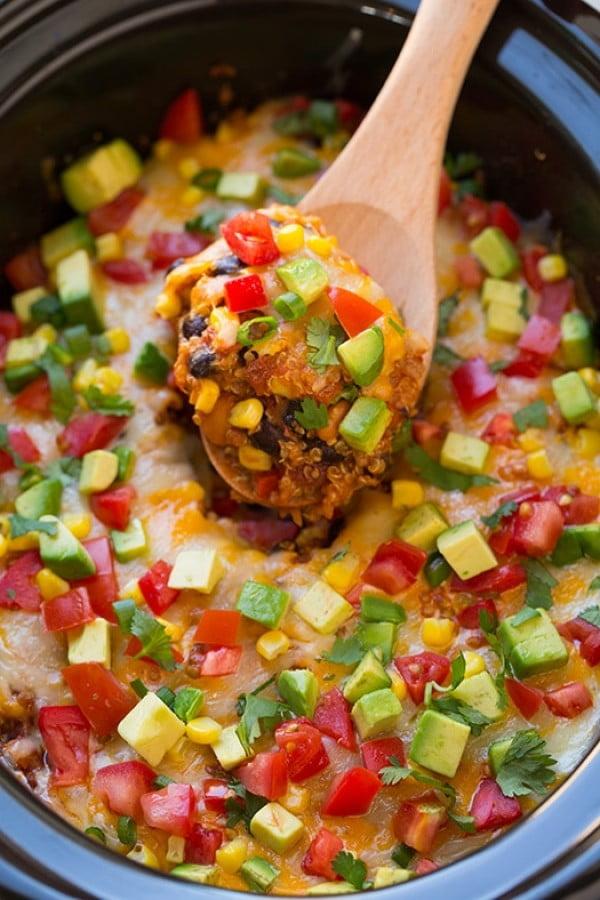 Slow Cooker Enchilada Quinoa Bake #vegetarian #crockpot #dinner #recipe