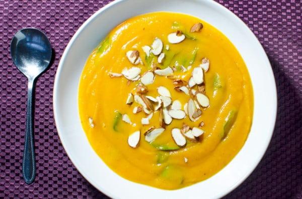 Slow Cooker Sweet Potato Soup #vegetarian #crockpot #dinner #recipe