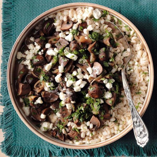 Mushroom Marsala with Barley Recipe #vegetarian #crockpot #dinner #recipe