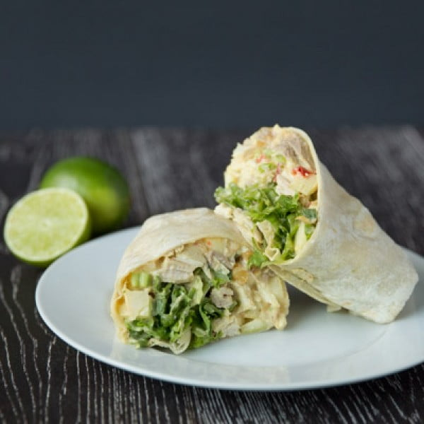 Curried Chicken Salad and Apple Wraps - Tastes Lovely #recipe #wrap #dinner #snack