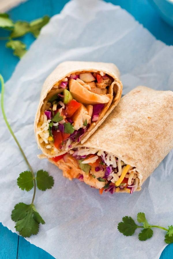 Hot & Spicy Thai Chicken Wraps #recipe #wrap #dinner #snack