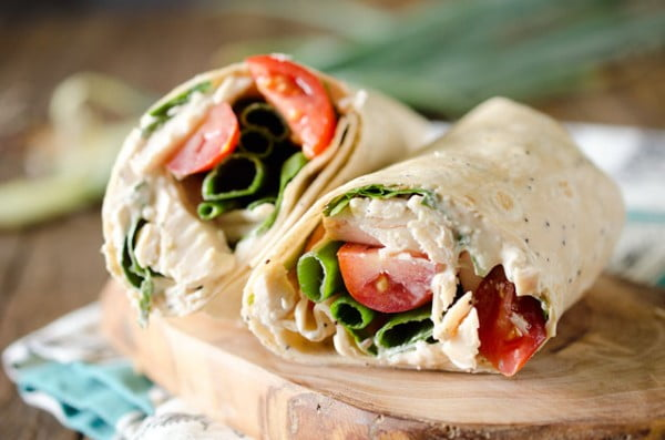 Light Chipotle Ranch Chicken Wrap #recipe #wrap #dinner #snack