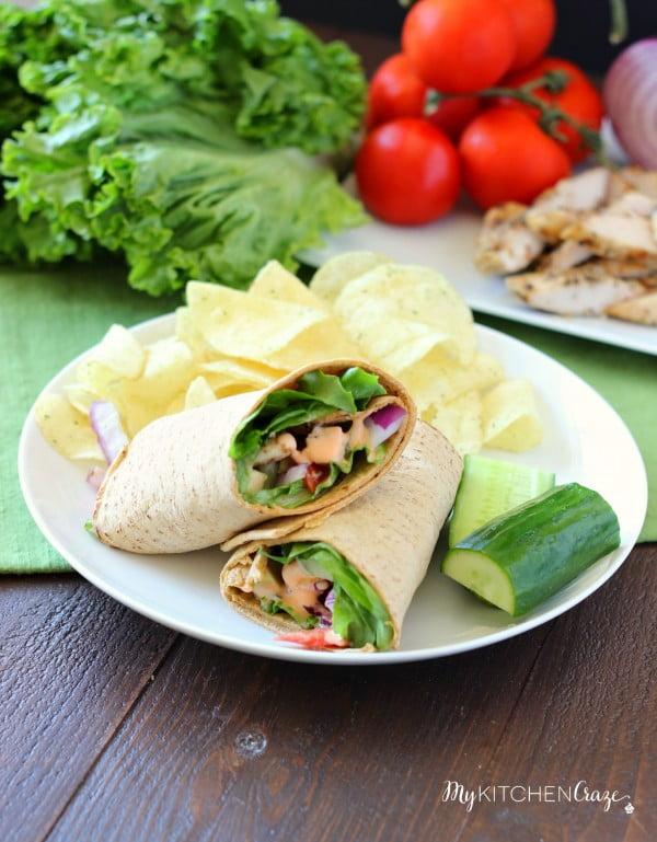 Buffalo Ranch Chicken Wrap - My Kitchen Craze #recipe #wrap #dinner #snack